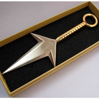 "Naruto: ""Cosplay - 9in METAL 4th Hokage's Kunai (Gold Handle)"" : TokyoToys.com: UK Based e-store, Anime Toys Retail & Wholesale, Manga Action Figures,  Hentai Statues, Japanese Snacks, Pocky, DVDs, Gashapon,  Cosplay, Monkey Shirt, Final Fantasy, Bleach, N"