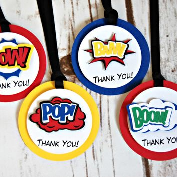 Superhero Theme Birthday Party Favor Tags, Super Boy Party Favor Bags, Comic Book Heros Theme Party Favor Tag (set of 12)