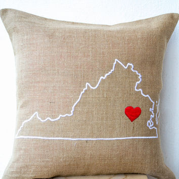 Burlap Pillows- State Pillow- Embroidered pillow- Personalized Pillow- Customized Cushion- Gift-26x26- Burlap Cushion- Virginia State Pillow