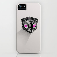 Companion Cube from the game Portal - illustration on iphone case by Allison Reich