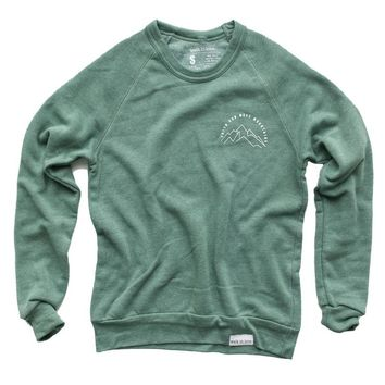 Faith Can Move Mountains Eco Frosted Pine Crewneck Sweatshirt