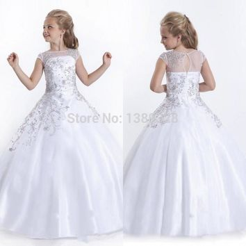 The highest girl beauty dress Vestidos De Comunion beading prom gown satin country wedding maid of honor