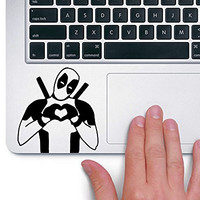 Deadpool Heart Hands Marvel Superhero - Trackpad Apple Macbook Laptop Vinyl Sticker Decal