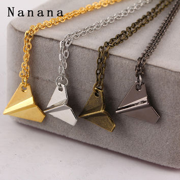 Gold Paper Airplane Pendant Necklace