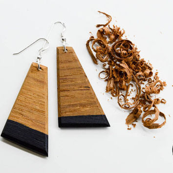 Triangle Wood Earrings, Minimalistic Jewelry, Modern Wood Earrings, Wood Accessorize, Geometric Earrings, Wood Earrings, Eco friendly