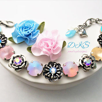 Pastel Flowers, Swarovski Crystal Bracelet, 12mm, Antique Silver, Adjustable, Easter, Jewelry Gifts, DKSJewelrydesigns, FREE SHIPPING