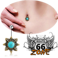 Women's Surgical Steel Turquoise Star Belly Button Ring