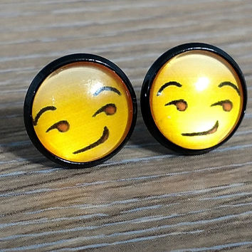 Emoji earrings-  Smirking Face- in black earrings