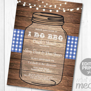 I Do BBQ Invitation Mason Jar Rustic Engagement Party Invite Couples Shower Printable INSTANT DOWNLOAD Navy Blue Lights Editable Printable