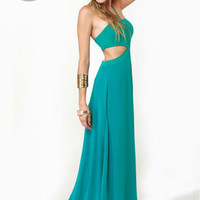 Long Division Teal Maxi Dress