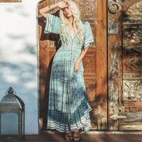 Gypsy Collective Dresses Boho Oracle Print Maxi Dresses Ruffled Hem Casual Beach Dress Women Vestidos