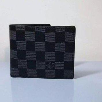 DCCKON LOUIS VUITTON NEW MAN'S FOLD WALLET LEATHER BAGS