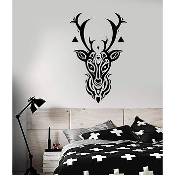 Vinyl Wall Decal Gothic Style Animal Forest Deer Head Stickers (2869ig)