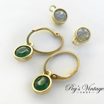Matte Gold Plated Green/Opal Gemstone Earrings, Interchangeable Charm Pierced Vintage Earrings