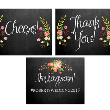 "Wedding Signage Set of SEVEN signs - Calligraphic Font - includes 5x7"" printable signs - Floral Chalkboard"