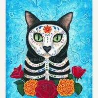 SALE Day of the Dead Cat Art Mexican Sugar Skull Cat Gothic Cat Painting All Souls Day Fantasy Cat Art Print 5x7 Cat Lovers Art
