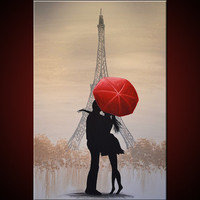 "Amy Giacomelli Painting Original Large Paris France Love Red Umbrella .... 24 x 36 ... titled ""Love In Paris"""