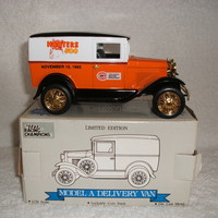 Ford Model A Delivery Van with Hooter's 500 on a 1:25 Die cast bank