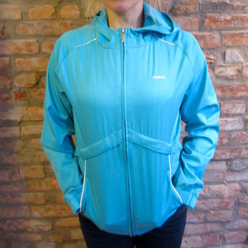 Vintage Reebok Windbreaker • 90s Windbreaker Jacket • Aqua Blue Hooded Windbreaker • Women's Small Zip Up Jacket • 90s Style Track Jacket