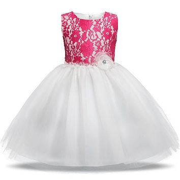 Elegant Baby Girl Evening Party Gown Flower Lace Christening Dresses For Girls Kids Wedding Party Wear Clothing Children Costume
