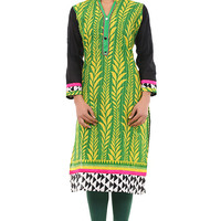 Green Cotton Kurti with Yellow Printed Floral Patterns