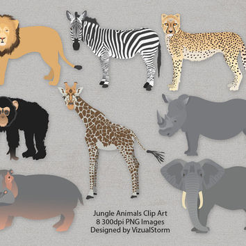 Jungle Animals Clip Art, African Animal Clipart, Elephant, Giraffe, Chimpanzee, Zebra, Hippo, Rhino, Lion, Cheetah, safari animal scrapbook