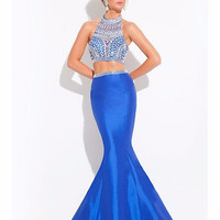 Real Photo vestidos de baile Crystal Sequin vestido formatura 2 Piece Mermaid Prom Dresses Long Evening Formal Gowns Dresses