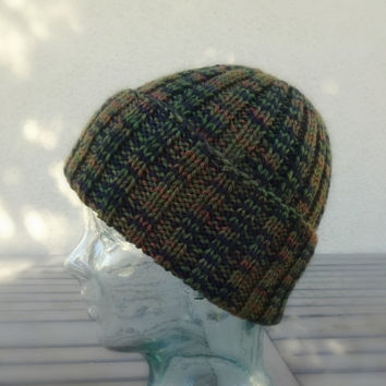 Knit Watchcap, Ribbed Knit Watchcap, Camo Colors Beanie, Green Hat, Wool Hat, Beanie, Mens Hat, Womens Hat, Teen Hat
