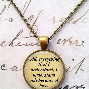 War and Peace Necklace, Leo Tolstoy, Library, Tolstoi, Literary, Victorian, Steampunk, Quotes T1153
