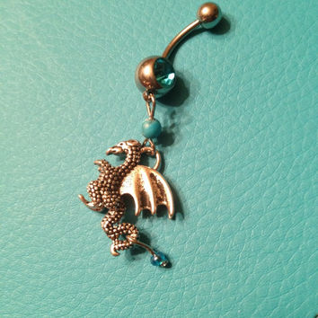 Dragon Belly Ring with Blue Gemstone
