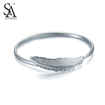 SA SILVERAGE Real 925 Sterling Silver Bracelets Bangles for Women Fine Jewelry Feather Resizable 2017 Hot Sale