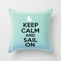 Sail On- Boat Throw Pillow by BeccaBlueyes
