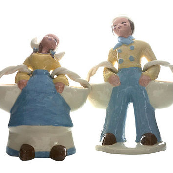 Kaye of Hollywood Dutch Girl Boy Flower Baskets California Pottery Mid Century Decor Kitsch Shabby Chic Pottery Ceramics Large Figural