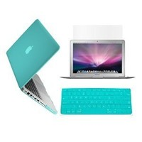 "RUBAN™ 3 in 1 Frosted MATTE Hard Rubbersized (Ruber Coated) Case Cover and Keyboard Cover with LCD Screen Protector for Macbook Pro 13-inch 13"" A1278/with or without Thunderbolt (With 1 Year Warranty) (Turquoise)"