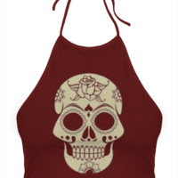 Burgundy Sugar Skull Halter Top