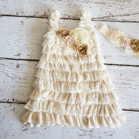 Lace Baby Dress - Burlap Wedding - Ivory Lace Dress - Flower Girl Dress - Toddler - Romper Dress - Girls lace Dress - Petti Dress