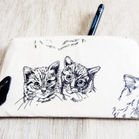 Cat Pouch, Zipper Pouch, Gift for Cat Lover, Pencil Pouch, Cosmetic Pouch, Coin Purse, Change Pouch, Cat Pouch, Gift for Mom, Teacher Gift