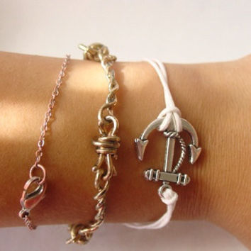 Anchor Bracelet (White, Pink, Brown, Green)