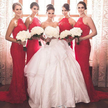 2016 Halter Red Lace Bridesmaid Dresses Backless Mermaid Floor Length Long Wedding Party Bridesmaid Gowns Maid of Honor BE31
