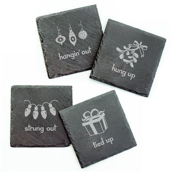 Holiday Hang Ups Square Slate Coasters - Set of 4