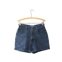 vintage 90s denim shorts washed out jean shorts high waist denim shorts blue green cuffed shorts