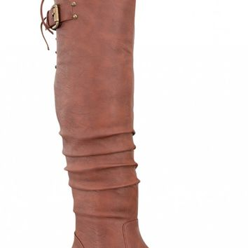 TAN FAUX LEATHER BUCKLE STRAP DESIGN SIDE ZIPPER CASUAL KNEE HIGH BOOTS