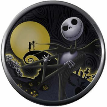 Spiral Hill Jack And Sally In Love Nightmare Before Christmas Jack Skellington Smirk 18MM - 20MM Charm for Snap Jewelry New Item