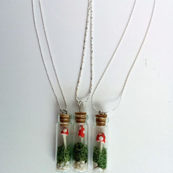 Mushroom Terrarium Necklace Pendant Corked Vial with Rock & Moss