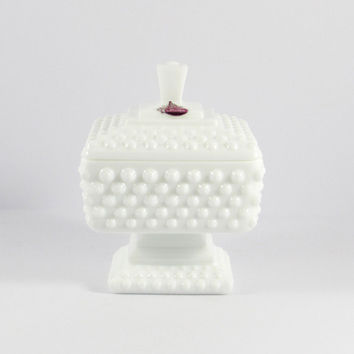 Vintage Fenton Hobnail White Milk Glass Footed Wedding Jar or Candy Dish with Lid, and original sticker