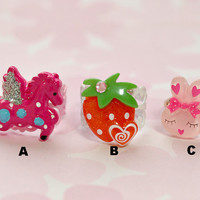 Kawaii ring, pink, girl, decora, lolita fashion, cute, pegasus, strawberry, bunny, plastic, cabochon,