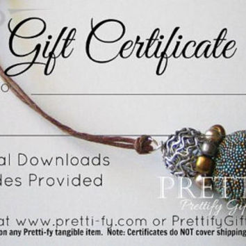 50.00 Pretti-fy Gift Certificate, In Store Coupon, Pretty Gift Cards, Gift Card, Custom Gift Order, Gifts for Her, Gifts for Mom, BFF Gifts