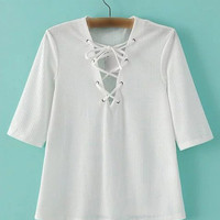 White Half Sleeve Criss Cross Tie T-shirt