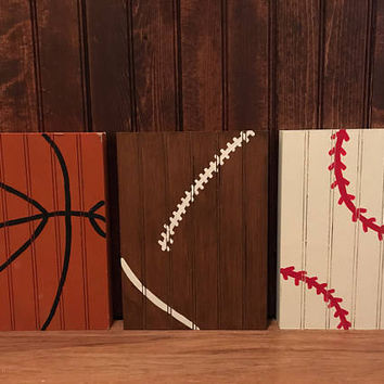 Rustic sport wall decor, basketball wall art, football wall art, baseball wall art, wall decor, sports fan, sport signs, office decor, play