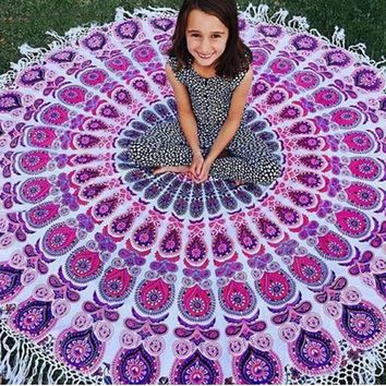 New Large Round Vintage Indian Mandala Tapestry Wall Hanging Art Beach Throw Towel Yoga Mat Blanket Boho Home Decor 150cm
